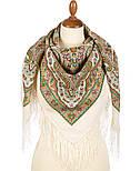 Шелковые травы 1894-1, павлопосадский платок шерстяной (двуниточная шерсть) с шелковой бахромой, фото 3