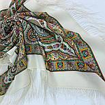 Шелковые травы 1894-1, павлопосадский платок шерстяной (двуниточная шерсть) с шелковой бахромой, фото 4