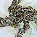 Шелковые травы 1894-1, павлопосадский платок шерстяной (двуниточная шерсть) с шелковой бахромой, фото 5