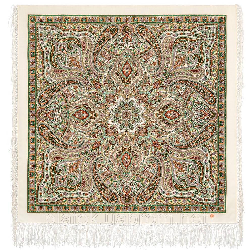 Шелковые травы 1894-1, павлопосадский платок шерстяной (двуниточная шерсть) с шелковой бахромой