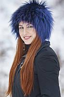 Женская меховая Шапка  из цветной чернобурки Zм55  Синий