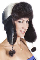 Зимняя шапка ушанка из меха Рекса с Норкой Yn-20  Серо-черный
