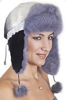Зимняя шапка с ушами   из меха Рекса с Норкой Yn-20  Серо-черный