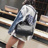 Женская серая сумка, сумка с шипами, женская сумка из эко-кожи  CC-3577-75