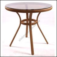 Столик круглый плетенный под стекло садовый, фото 1