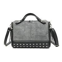 Заказ от 1000 грн, женская серая сумка оптом, сумка с шипами экокожа  FS-3577-75, фото 1