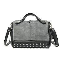 Заказ от 1000 грн, женская серая сумка оптом, сумка с шипами экокожа  FS-3577-75