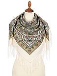 Шелковые травы 1894-2, павлопосадский платок шерстяной (двуниточная шерсть) с шелковой бахромой, фото 2