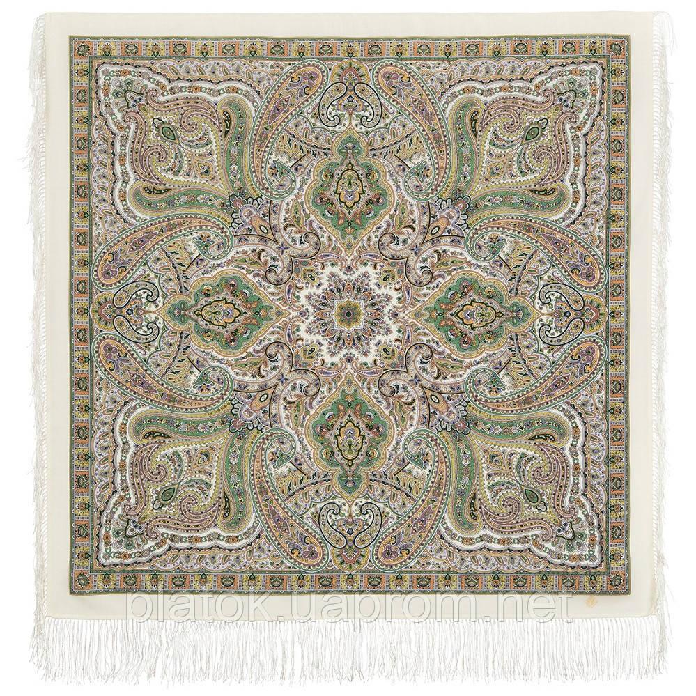 Шелковые травы 1894-2, павлопосадский платок шерстяной (двуниточная шерсть) с шелковой бахромой