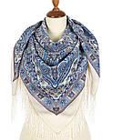 Шелковые травы 1894-4, павлопосадский платок шерстяной (двуниточная шерсть) с шелковой бахромой, фото 2