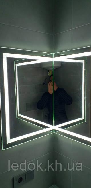 Зеркало с LED подсветкой угловое