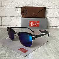Солнцезащитные очки RAY BAN 3016 CLUBMASTER Polarized сине-зелёный