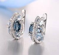 Серебряные серьги 925 пробы с мерцающим синим фианитом ручной работы гламурные ювелирные украшения