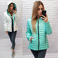 Куртка двусторонняя женская, арт.185 батал, цвет - бирюзовый/белый