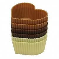 """Форма для випічки кексів """"серце"""" силікон Maestro MR-1057 6 шт"""
