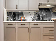Кухонный фартук Город в тумане (скинали на кухню серая абстракция, пленка виниловая небоскреб)