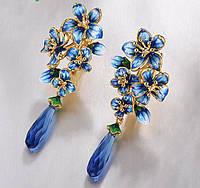 Серебряные серьги 925 пробы изысканный цветок ручной работы висячие серьги ювелирные украшения