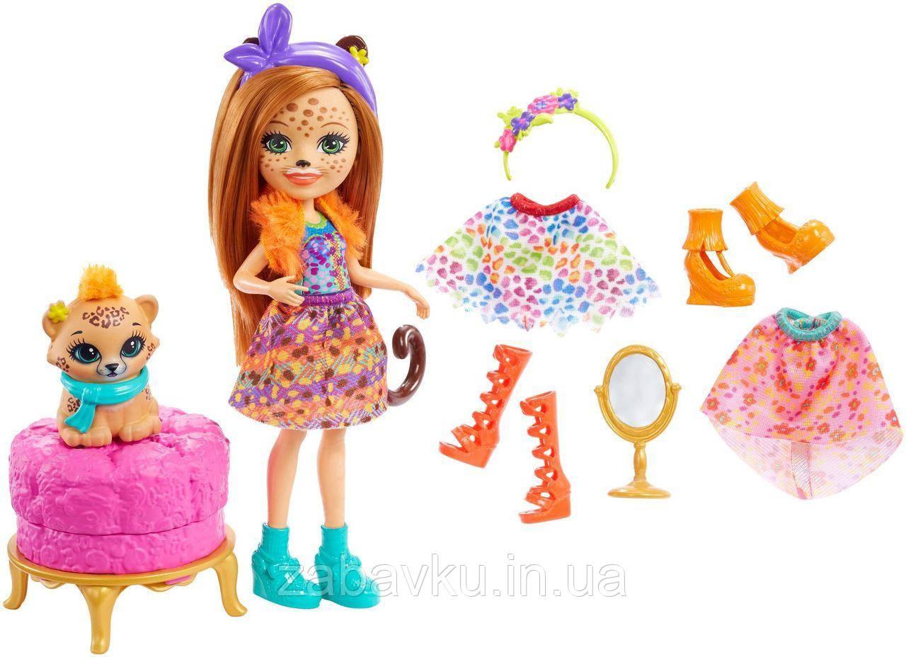 Enchantimals Fashion Fun Cherish Cheetah Енчантімалс лялька Рись Черіш набір модне перевтіленя