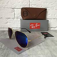 Солнцезащитные очки RAY BAN 3026 AVIATOR Polarized.сине-зелёный