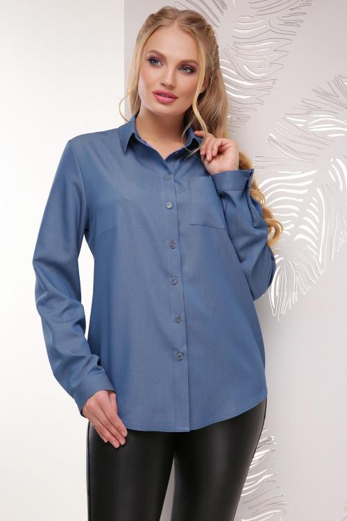 Женская рубашка светлый джинс 52, 54, 56