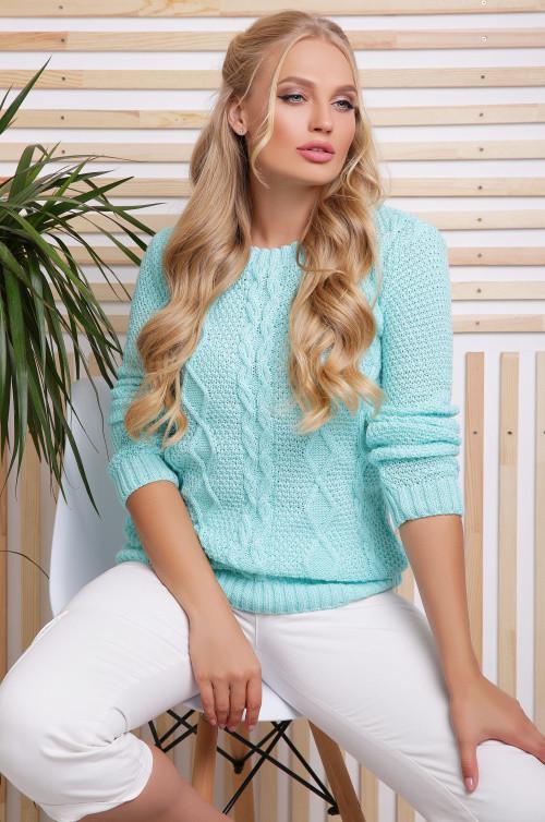 Вязаный женский свитер мята размер 48-54
