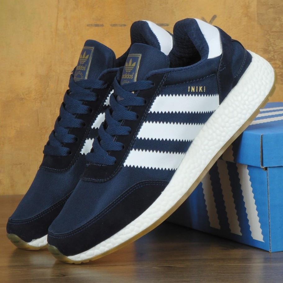 Мужские кроссовки Adidas Iniki Runner Boost Navy Blue/White