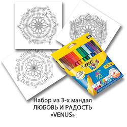 Комплект для дзен-рисования «Легкий старт» с фломастерами «BIC» 12 шт. Набор для творчества для взрослых.