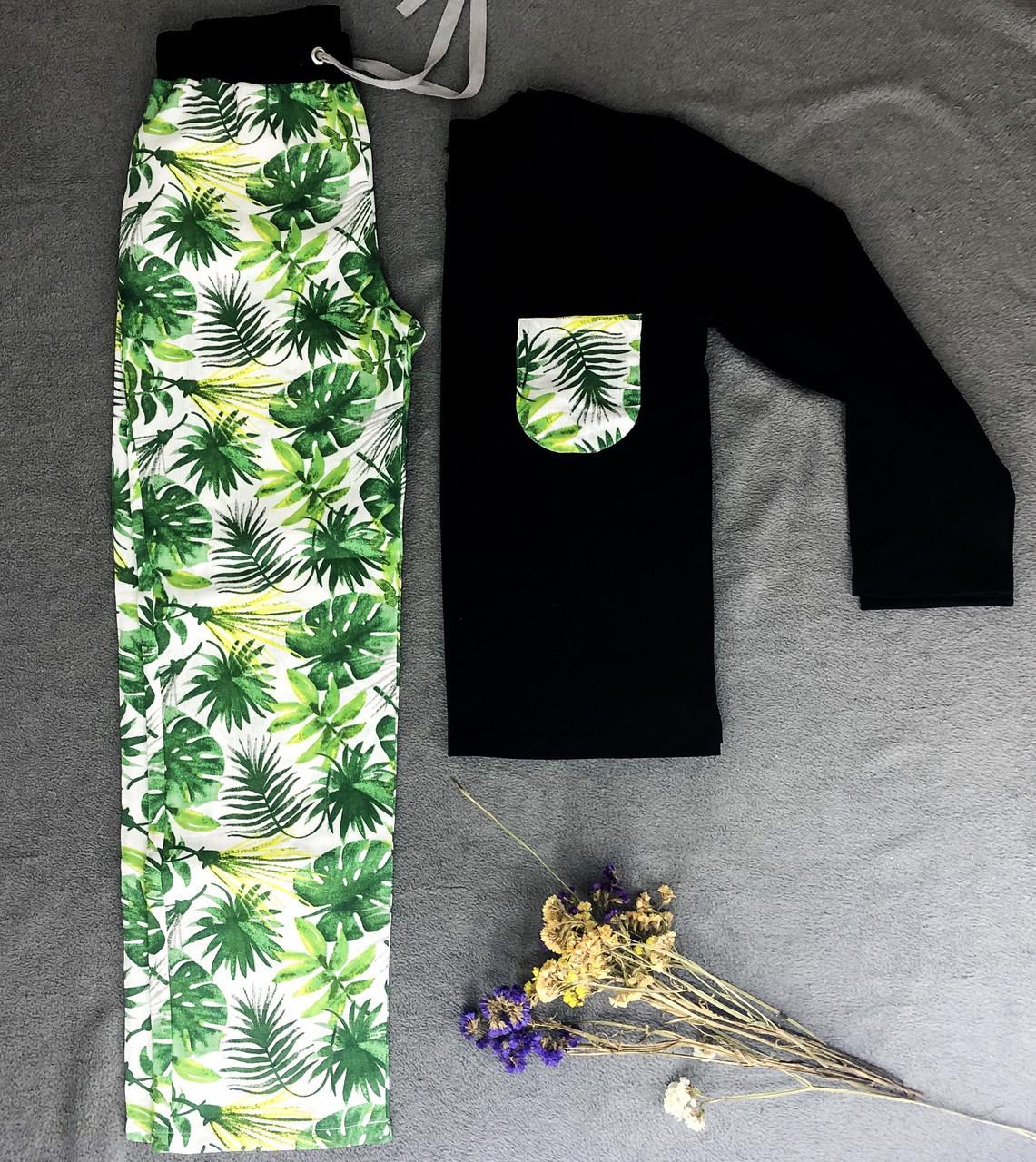 Мужская пижама, мужской домашний костюм Тропики, размер L, черно-белая  (кофта и брюки)