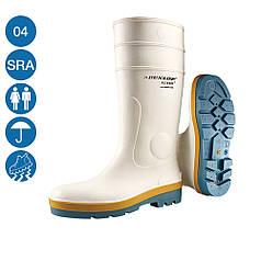 Сапоги рабочие резиновые белые Acifort Tricolour Dunlop защитные из ПВХ для пищевых предприятий