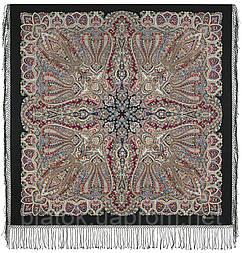 Знойный ветер 1888-18, павлопосадский платок шерстяной (двуниточная шерсть) с шелковой вязаной бахромой