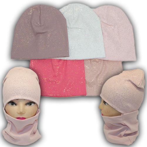 ОПТ Трикотажная шапка с напылением и хомутом для девочки, р. 50-52 (5шт/набор)