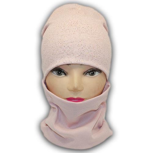 Трикотажная шапка с хомутом для девочки