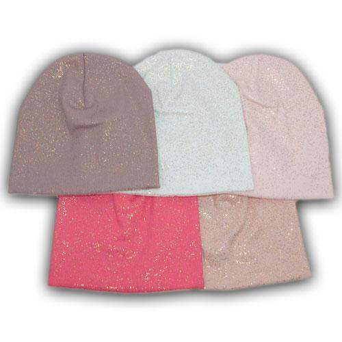 Трикотажная шапка с напылением и хомутом для девочки
