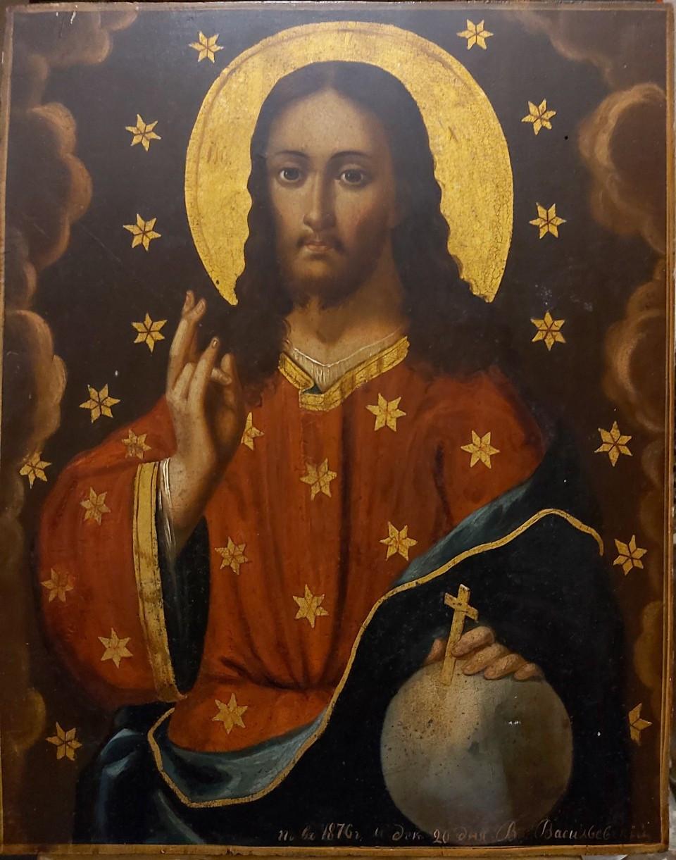 Икона Господь Вседержитель 19 век Чернигов подписная