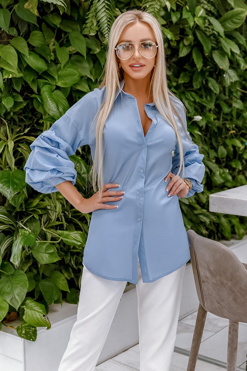 Блузка голубая, удлиненная