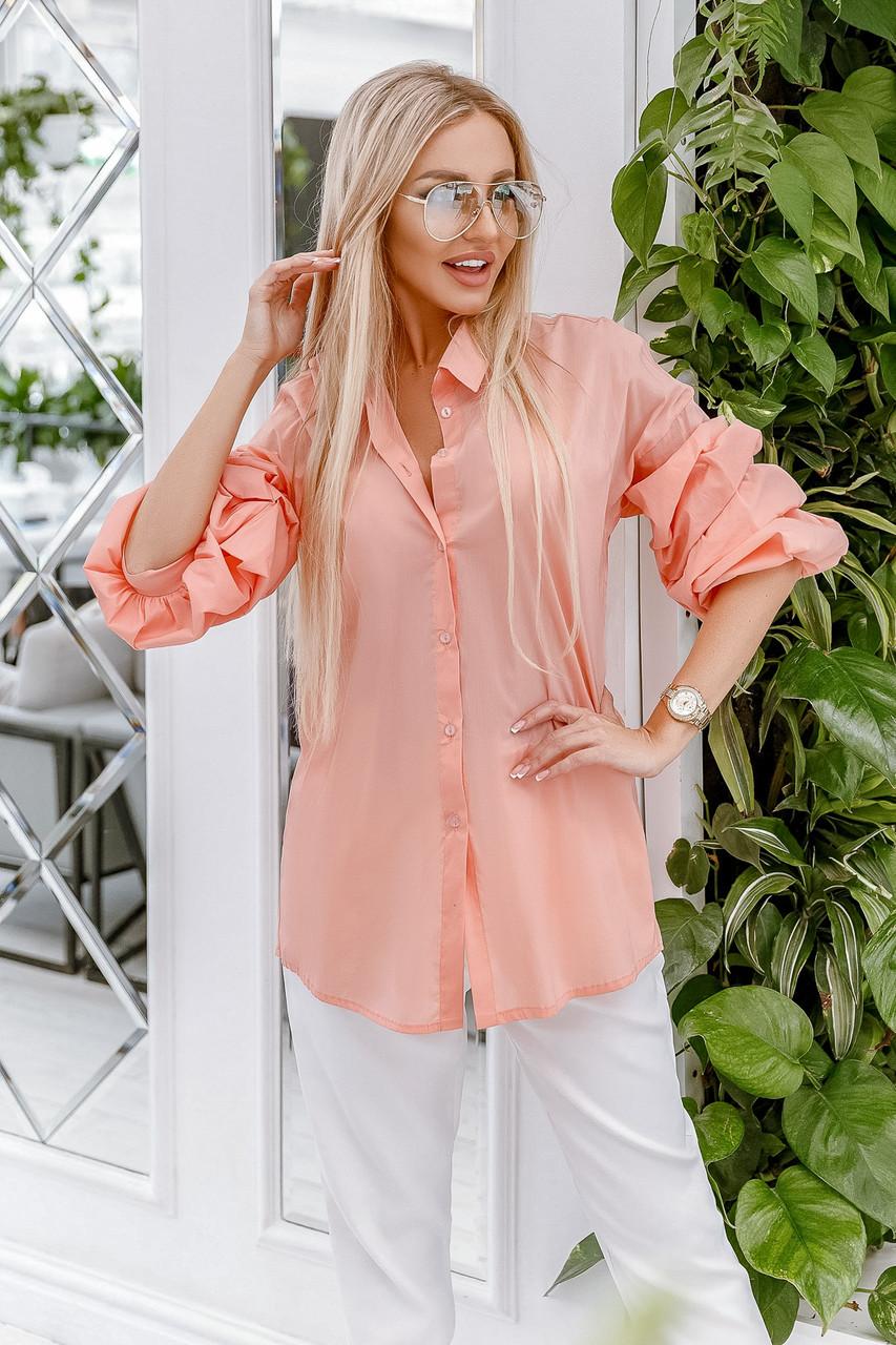 Блузка розовая, удлиненная