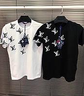 Мужская  брендовая футболка Louis Vuitton БЕЛАЯ и ЧЕРНАЯ  (Люкс качество )