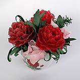 Букет з мильних квітів півонії Квіткова композиція з мила ручної роботи Мильний букет, фото 7