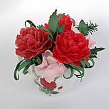 Букет з мильних квітів півонії Квіткова композиція з мила ручної роботи Мильний букет, фото 6