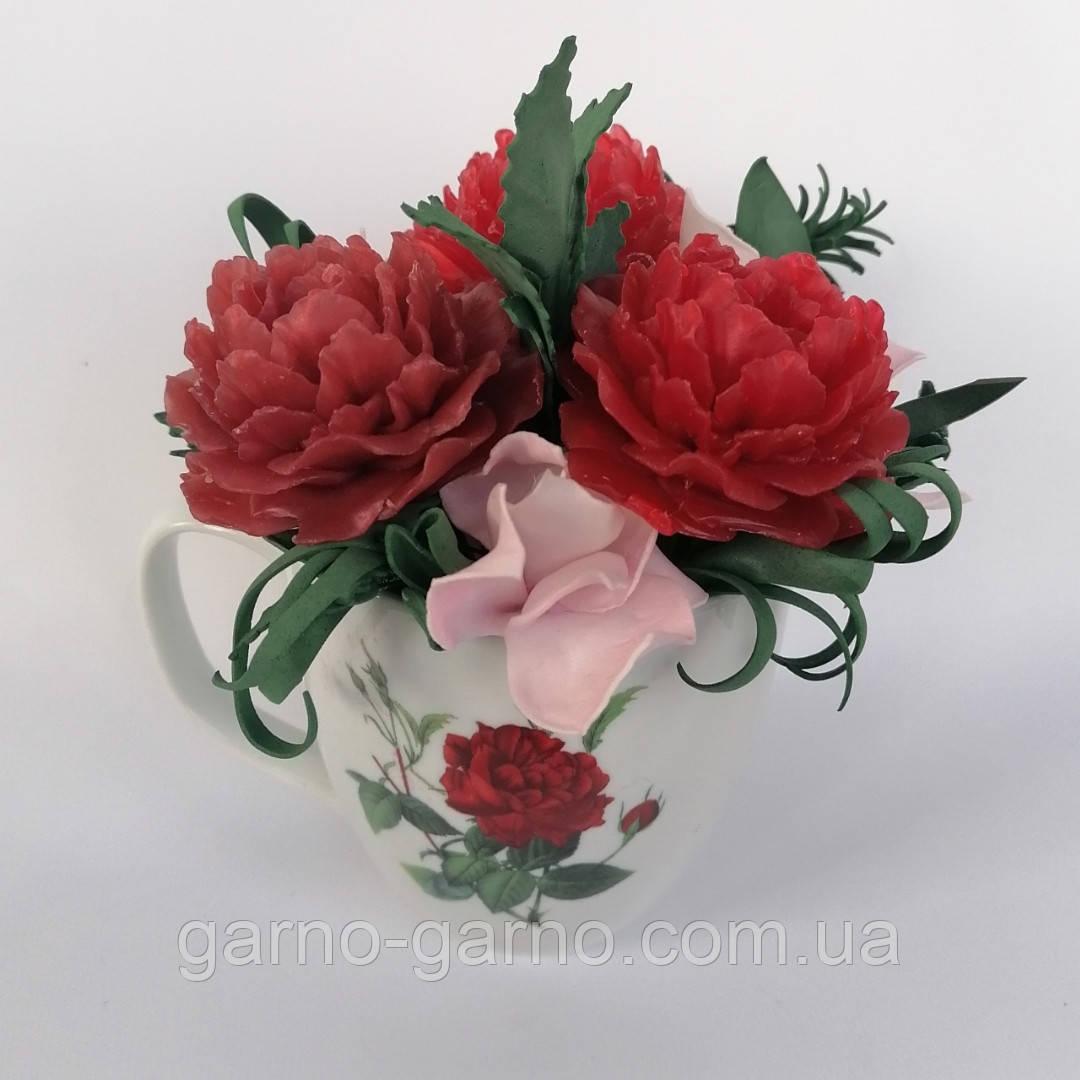 Букет з мильних квітів півонії Квіткова композиція з мила ручної роботи Мильний букет