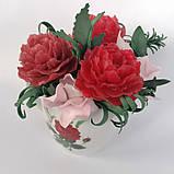 Букет з мильних квітів півонії Квіткова композиція з мила ручної роботи Мильний букет, фото 5