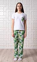 Женский домашний костюм Тропики, размер XS, белая женская пижама (футболка и брюки), фото 1