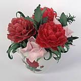 Букет з мильних квітів півонії Квіткова композиція з мила ручної роботи Мильний букет, фото 3