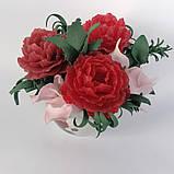 Букет з мильних квітів півонії Квіткова композиція з мила ручної роботи Мильний букет, фото 2