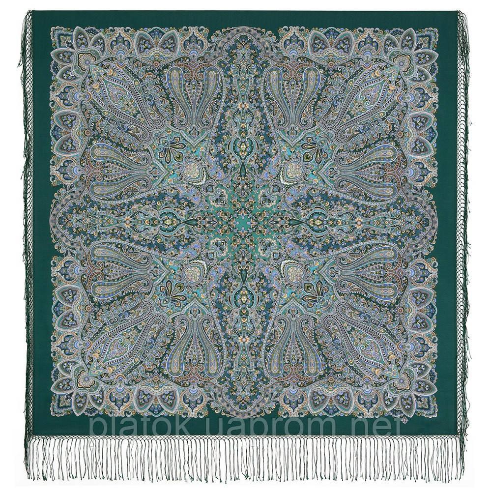 Знойный ветер 1888-9 , павлопосадский платок шерстяной (двуниточная шерсть) с шелковой вязаной бахромой