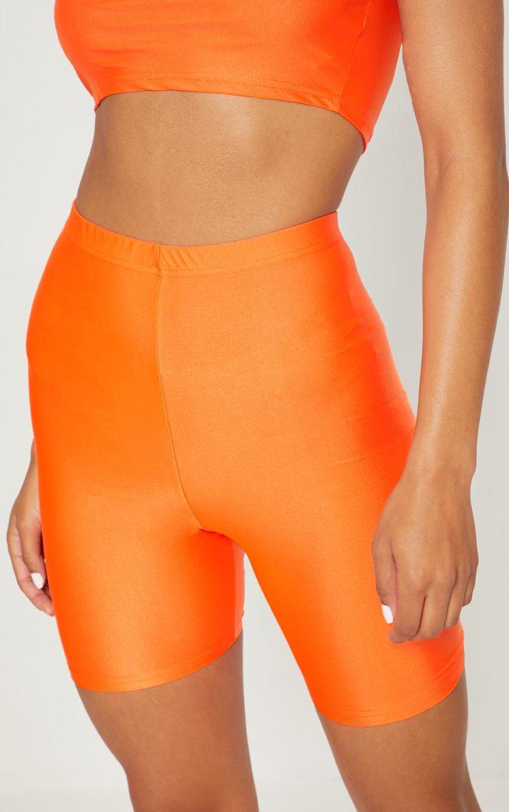 Женские шорты велосипедки  неоновый оранжевый (в размерах XS-XL)