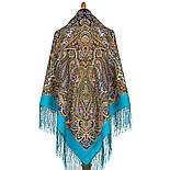 Знойный ветер 1888-11, павлопосадский платок шерстяной (двуниточная шерсть) с шелковой вязаной бахромой, фото 2