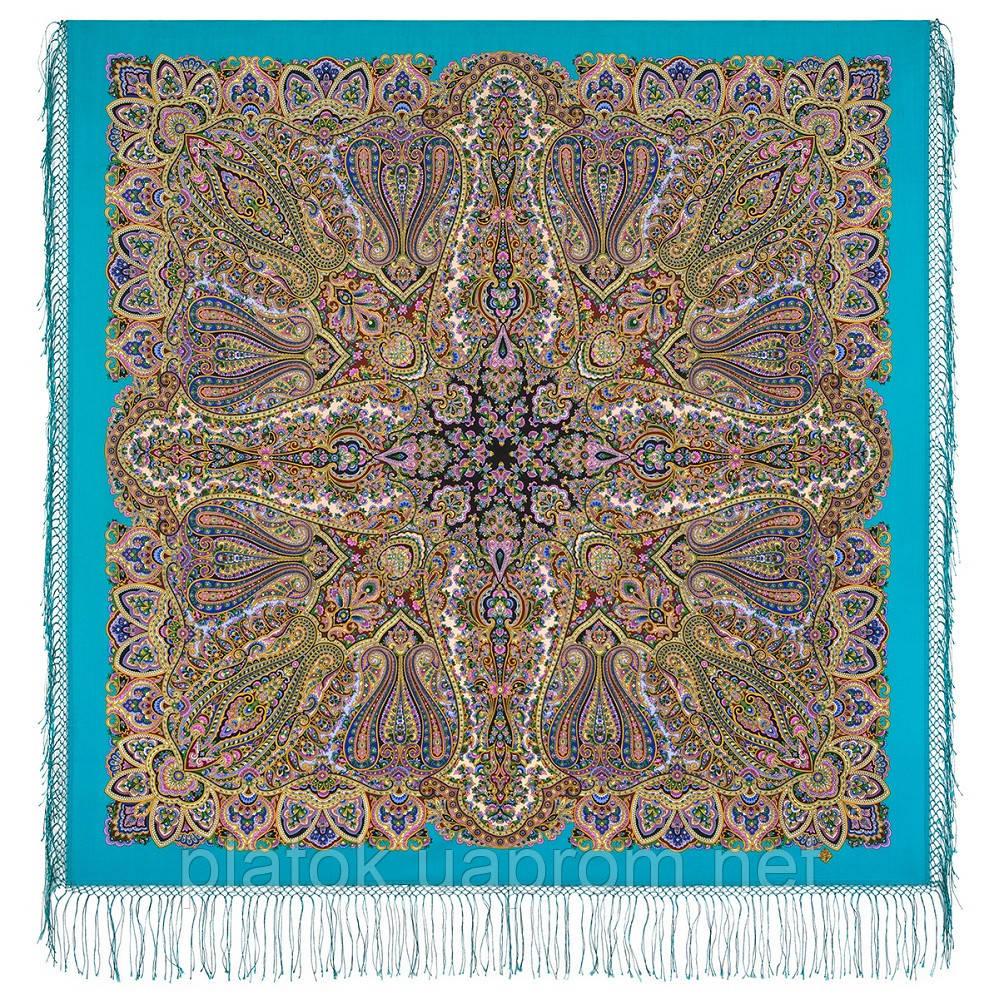 Знойный ветер 1888-11, павлопосадский платок шерстяной (двуниточная шерсть) с шелковой вязаной бахромой