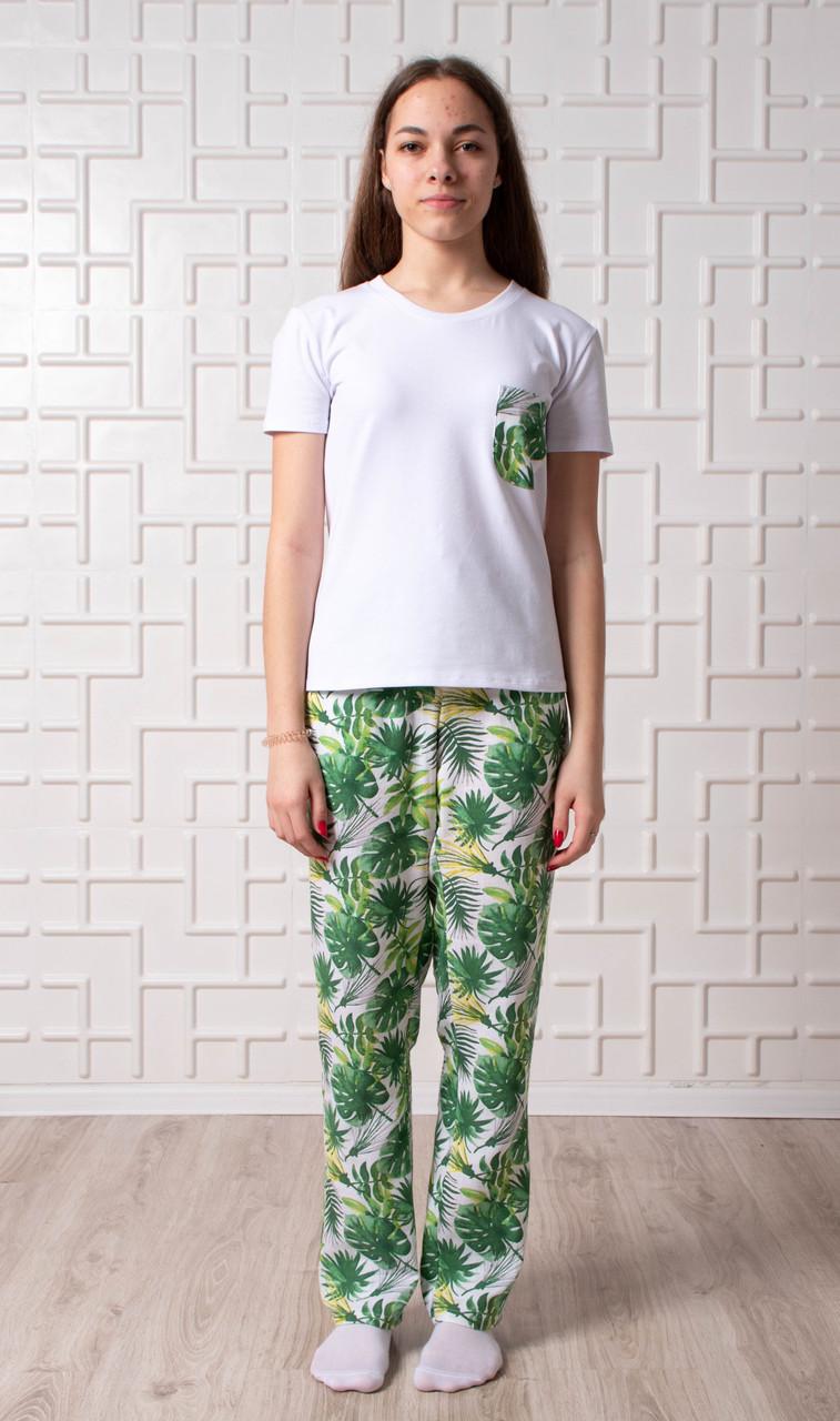 Женский домашний костюм Тропики, размер L, белая женская пижама (футболка и брюки)