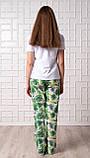 Женский домашний костюм Тропики, размер L, белая женская пижама (футболка и брюки), фото 2